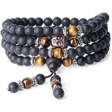 COAI® Pulsera Collar de 108 Cuentas Mala Piedra Natural Ónice y Ojo de Tigre Budista 6mm