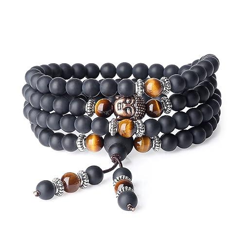 f81978688354 COAI® Pulsera Collar de 108 Cuentas Mala Piedra Natural Ónice Mate y Ojo de  Tigre Marrón Budista 6mm  Amazon.es  Joyería