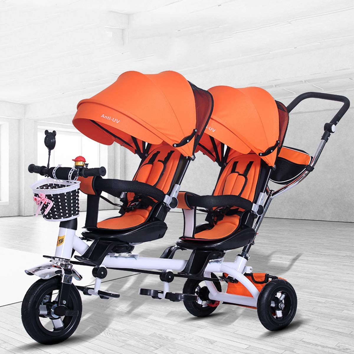 Eustoma Lightweight Twin Baby Stroller, Double Baby Bicycle Tricycle with Storage Basket and UV Protection Awning,Orange
