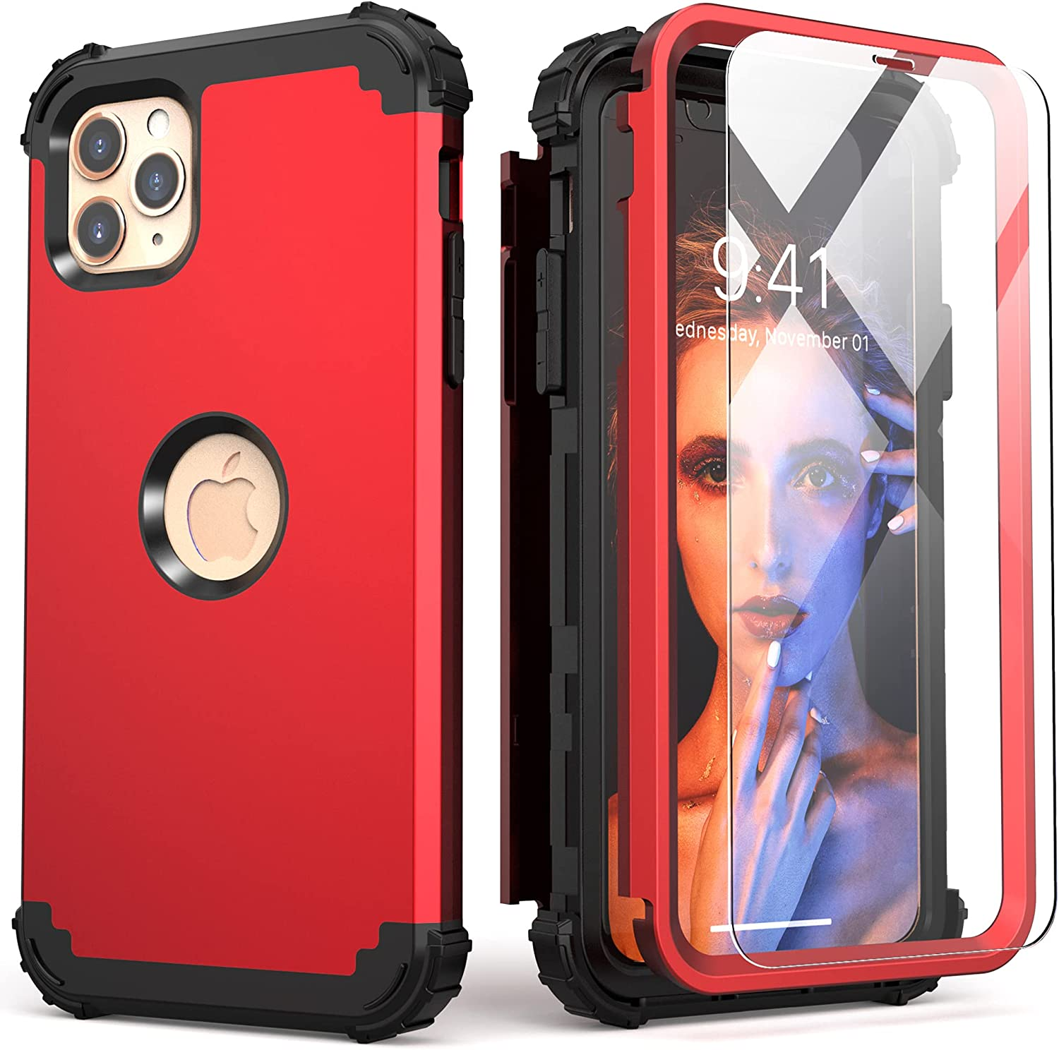 iPhone 11 Pro Max Case with Tempered Glass,IDweel Hybrid 3 in 1 Shockproof Slim Fit Heavy Duty Protection Hard PC Cover Soft Silicone Rugged Bumper Full Body Case for iPhone 11 Pro Max, Red