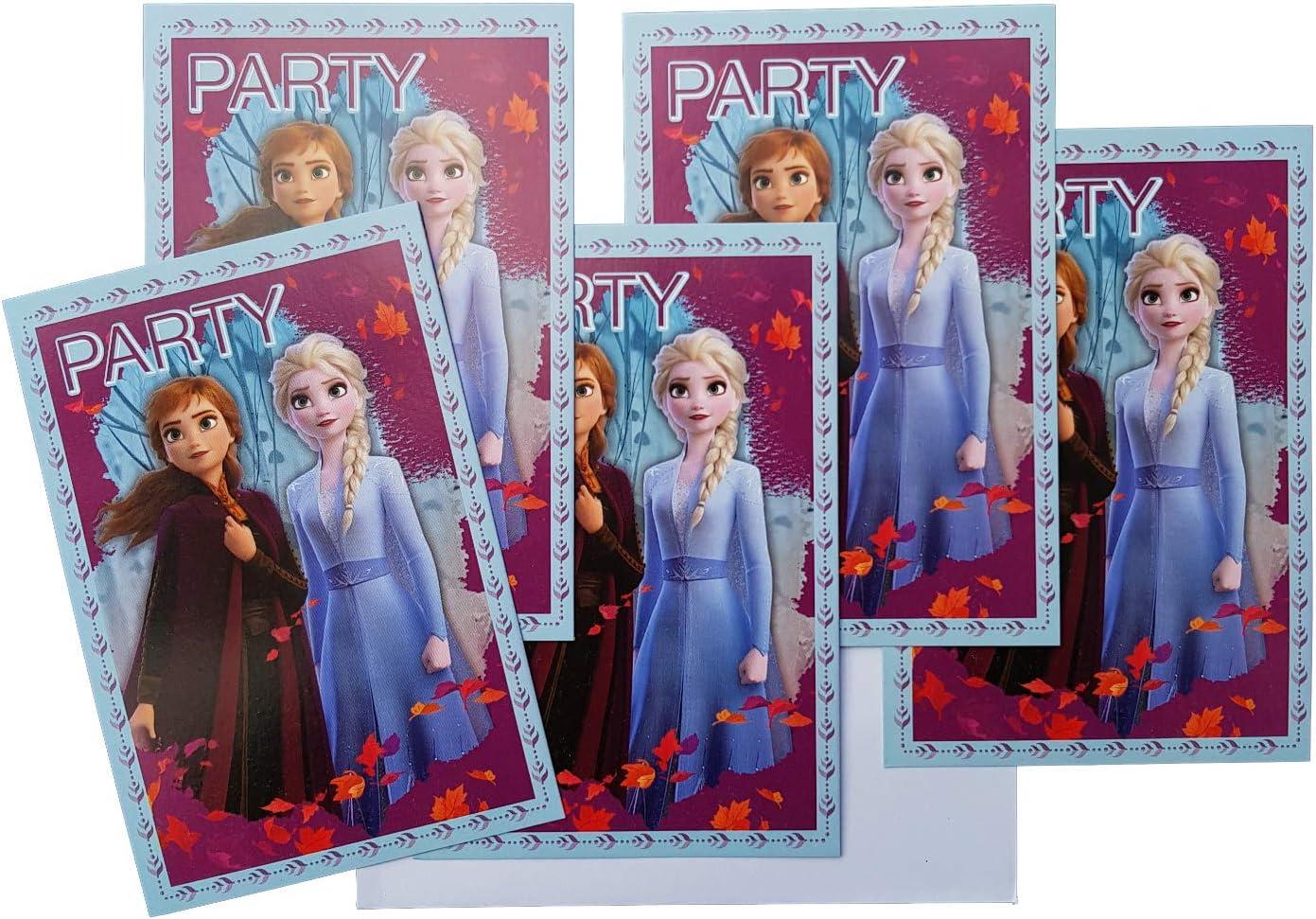 Les Colis Noirs LCN 093 Violet Set 5 Carton dInvitation avec Enveloppe Disney La Reine des Neiges 2 Frozen Carte Anniversaire