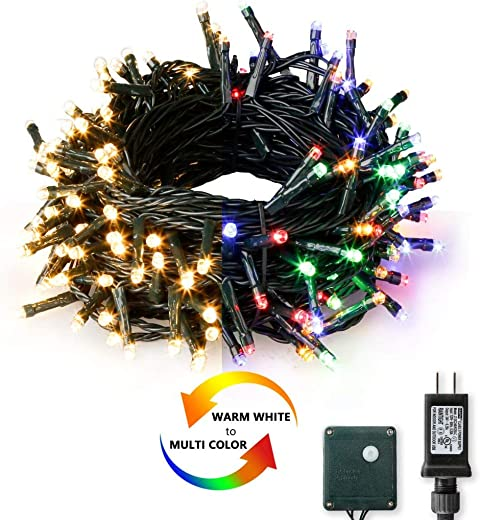 200 LED Fairy String Lights,Vanthylit Sync to Music Smart Lights Warm White and Multicolor 2 Color String Light Green Wire Twinkle Christmas Light Decorations for Party Indoor Outdoor