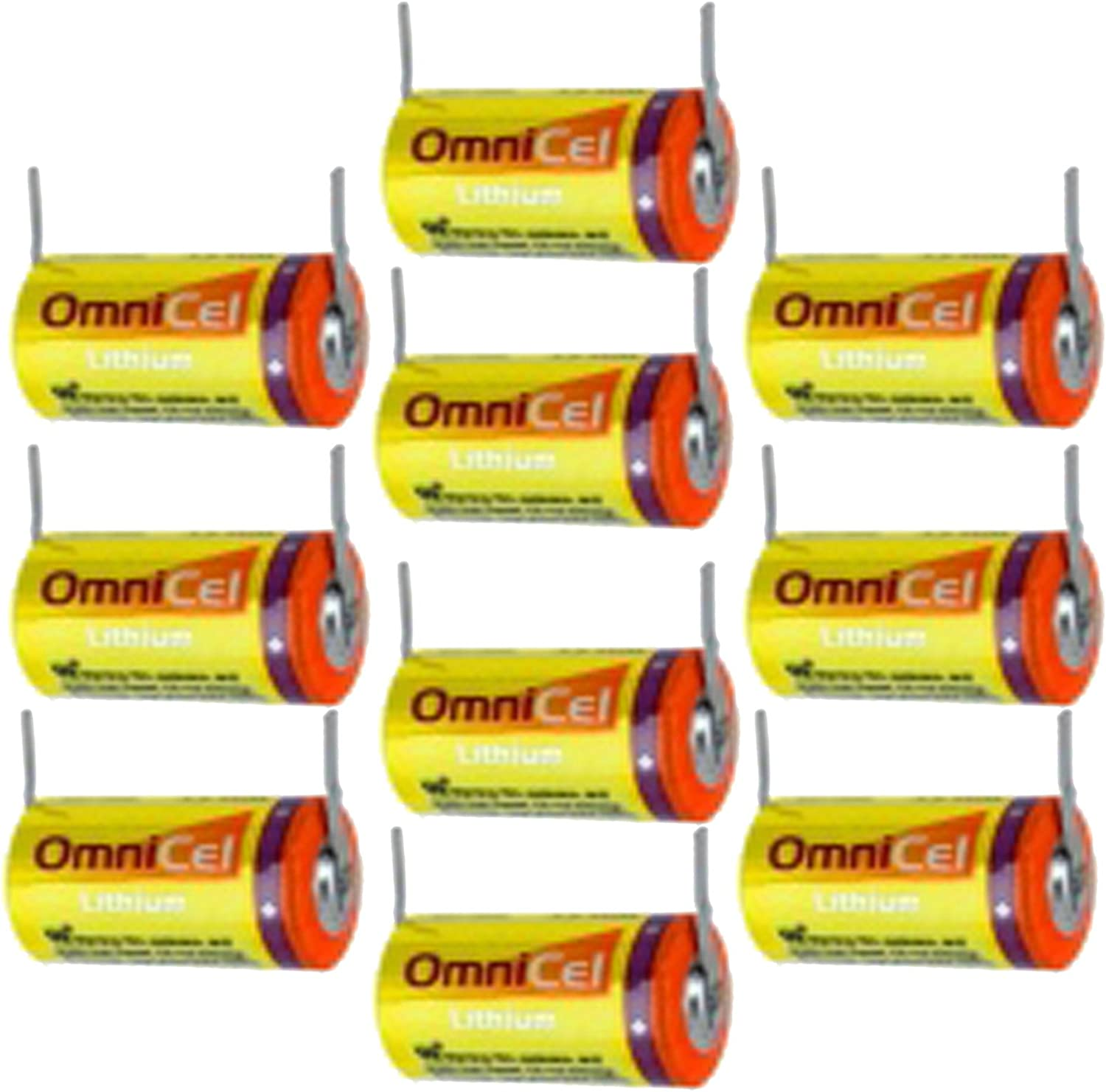 10x OmniCel ER14335 3.6V 1.65Ah 2/3Aein Lithium hoch Energy Battery w/Tabs für Emergency Backup, Data Collection, AMR, Smoke Alarms, Carbon Monoxide Detectors, Intrusion Sensors, Fleet Monitoring