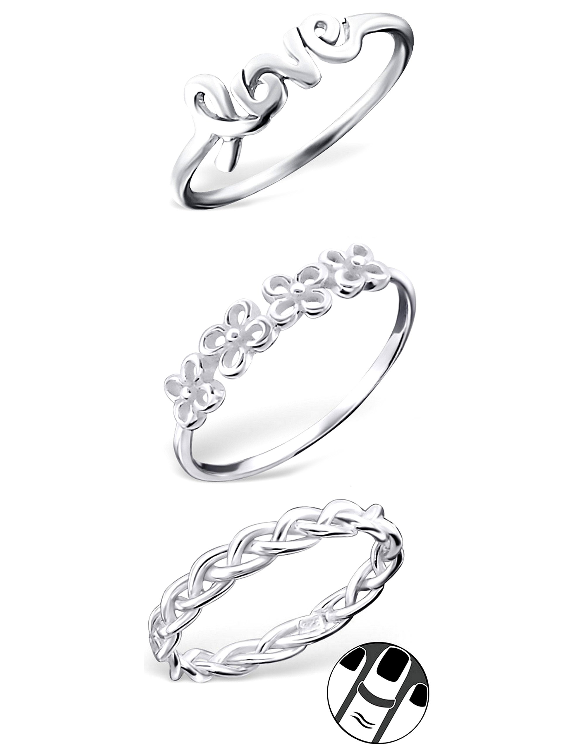 925 Sterling Silver set of 3 Braided, Love, Flowers Above Knuckle Ring Mid Finger Top