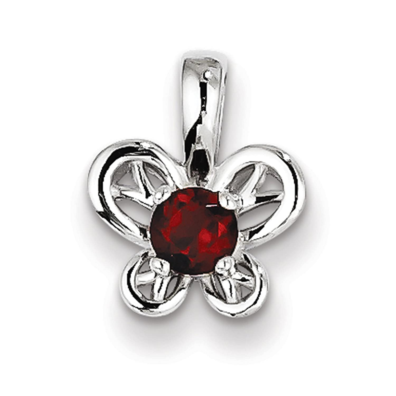 925 Sterling Silver Rhodium-finish Garnet January Stone Butterfly Pendant