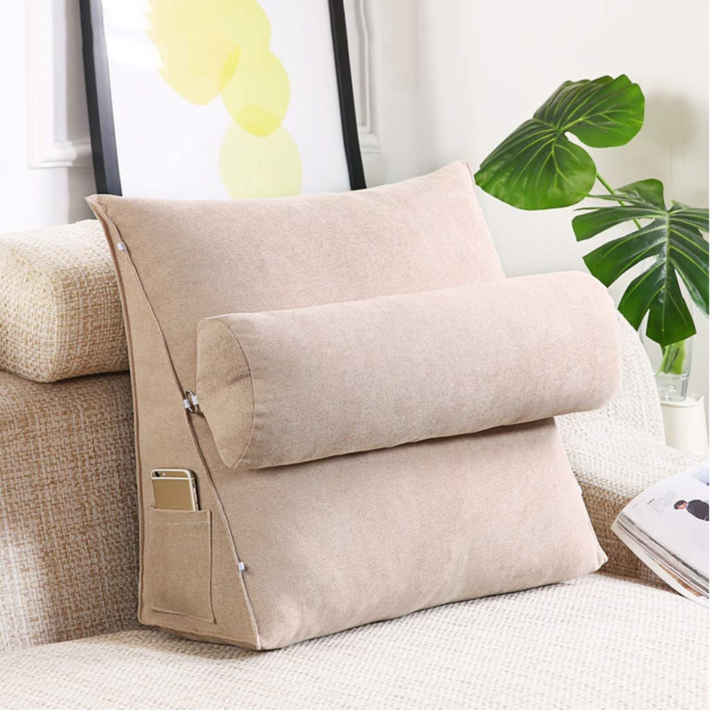Lil with Headrest Sofa Waist Belt Triangle Cushion, Bed Head Large Office Backrest, Protection Neck Pillow,Removable Washable (Color : Hemp, Size : 605020cm)