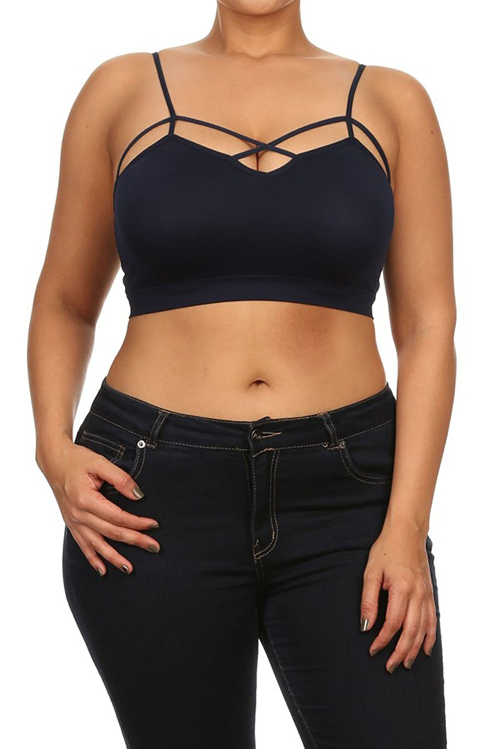 Ollie Arnes Women's (S-3X) Seamless Padded Bralette with Criss-Cross Detail 63_Navy 1X/2X