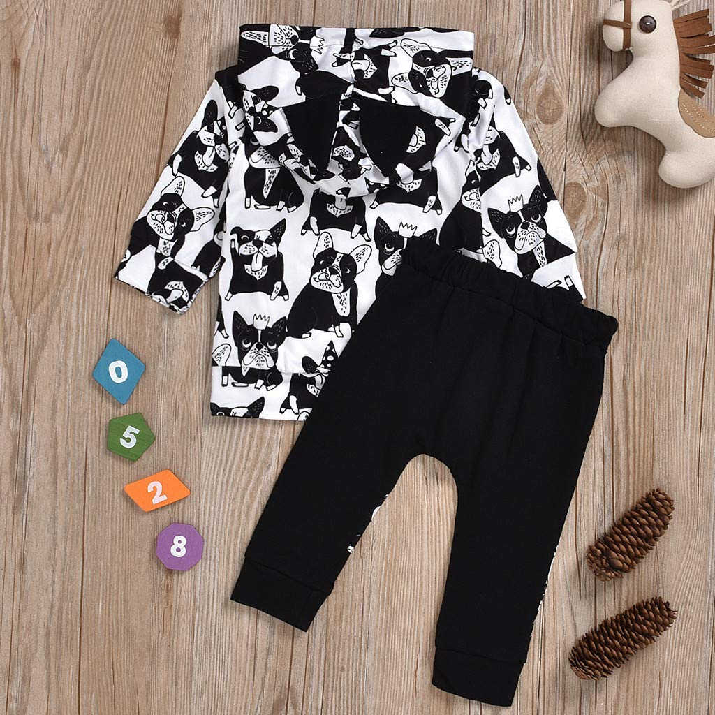 6-12 Months, Black Gallity Boys Fall Sweatshirts Pullover Outfits Newborn Baby Boys Long Sleeve Cartoon Puppy Hoodie Sweatsuit Pants Outfit Set for 0-3 Years Old Boys Xmas Gift