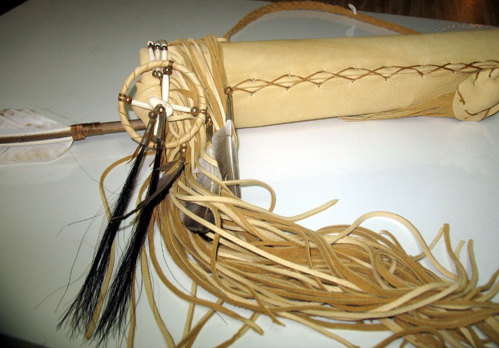Hand Crafted Quiver with Arrows Native American Decorated with Buffalo Hair Pipes Medicine Bags Fringes by Roger Enterprises (Image #3)