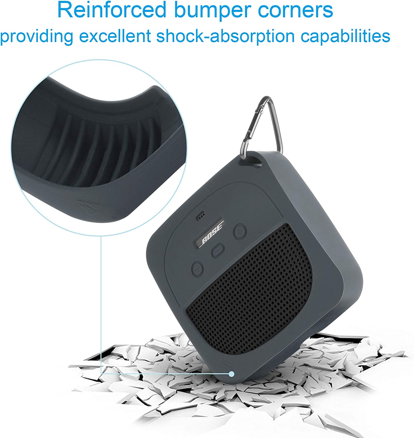 TXEsign Protective Silicone Stand Up Case for Bose Soundlink Micro Waterproof Bluetooth Portable Speaker Grey