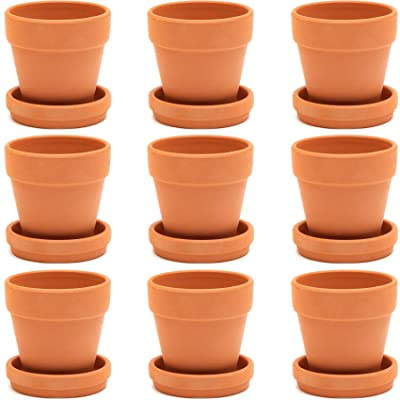 Terra Cotta Pots with Saucer (3 in, 9 Pack): Arts, Crafts & Sewing