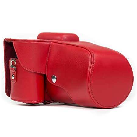 MegaGear Ever Ready Red Leather Camera Case Nikon D3200 Cameras with 18 55mm VR Lens Cases   Bags