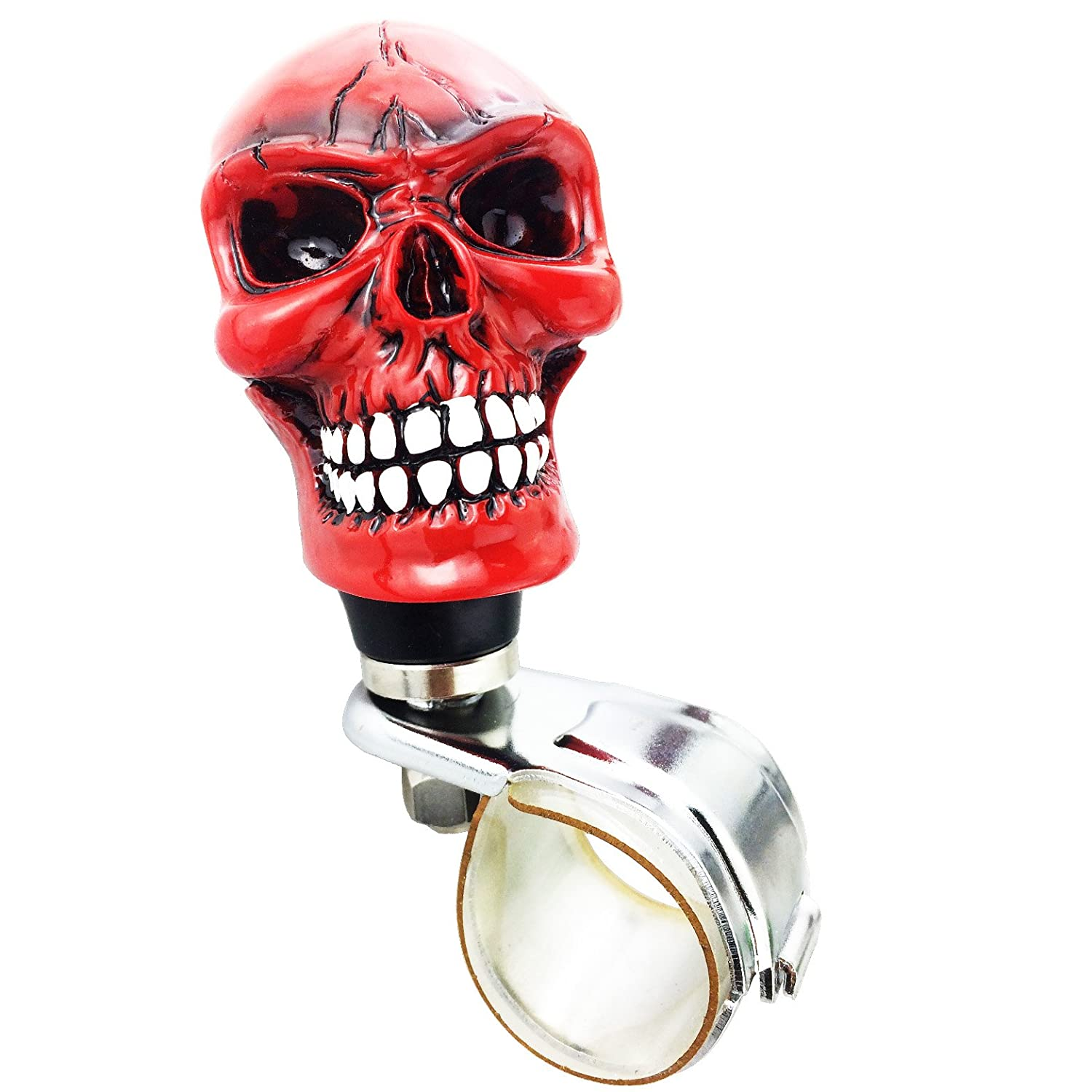 Arenbel Car Steering Wheel Spinner Red Skull Head Black Eye White Mouth Bone Rotating Suicide Knob Spinners Mounted on Outside Rim of Steering Wheel ARK040-BL040A
