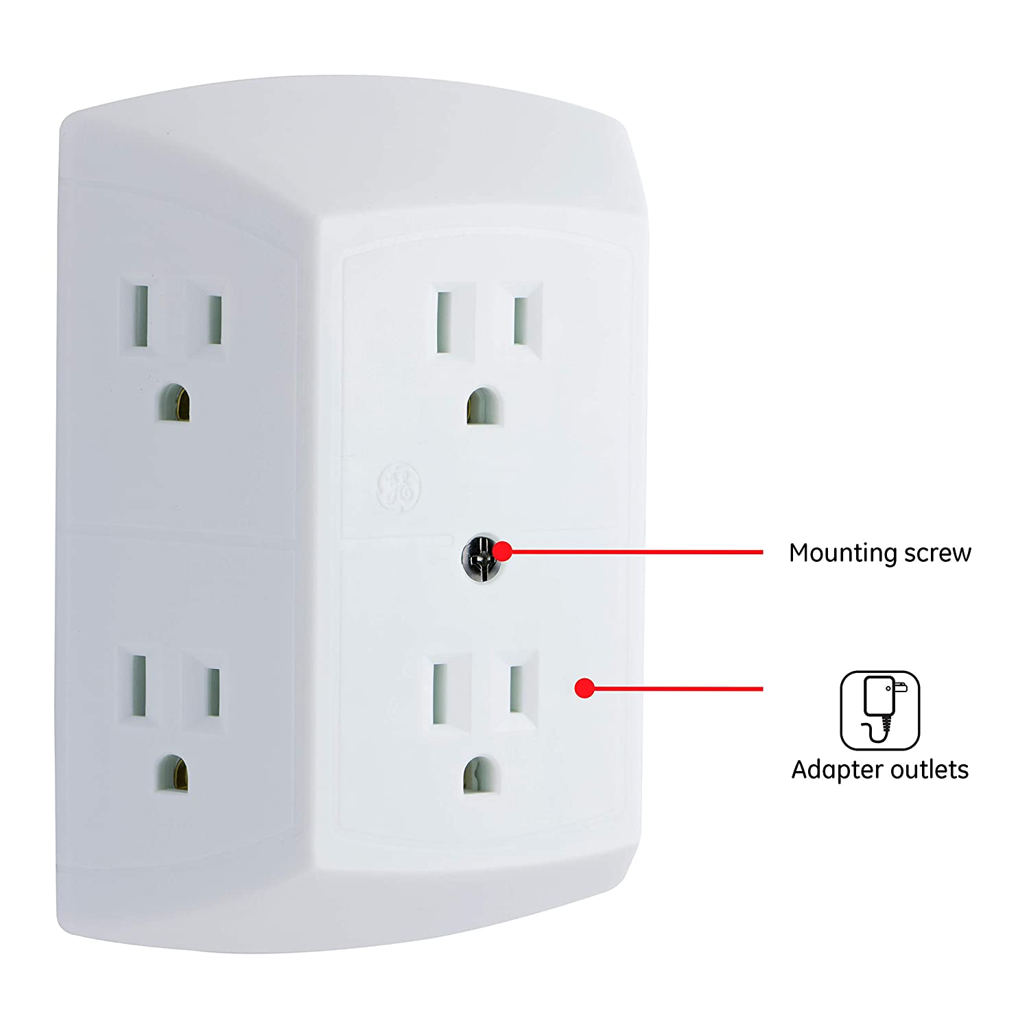 GE 50759 6-Grounded Outlet In-Wall Adapter (White)