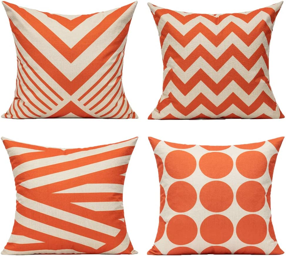 All Smiles Outdoor Patio Throw Pillow Covers Cases Indoor Furniture Decorative Cushion 18x18 Set of 4 for Home Porch Chair Couch Sofa Living Room Geometric Orange: Kitchen & Dining