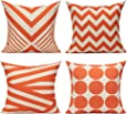 All Smiles Outdoor Decorative Orange Throw Pillow Covers Cases Accent Cushion 18x18 Set of 4 Cotton Linen Square for Patio Couch Sofa,Geometric Chevron Stripe