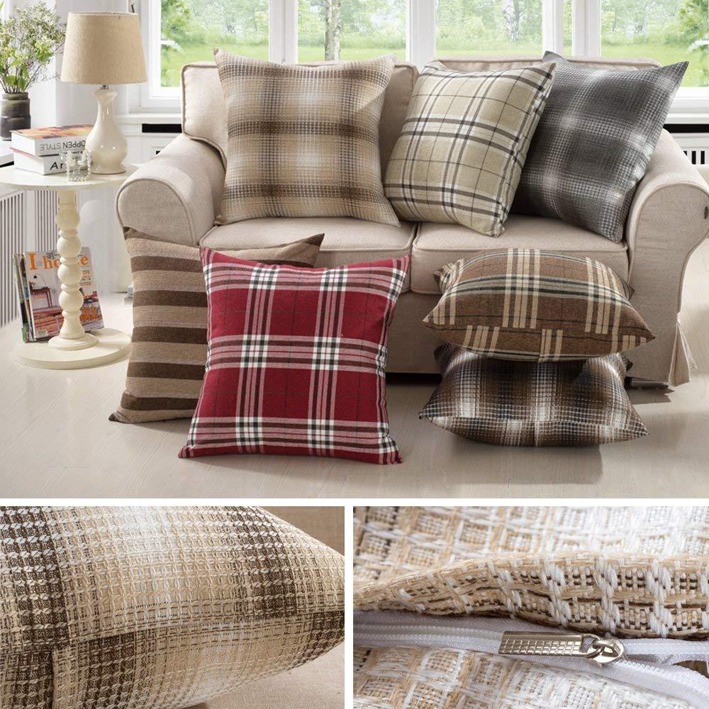 M MOCHOHOME Linen Decorative Square Checkered Plaid Throw Pillow Cover Case Pillowcase Cushion Sham - 20'' x 20'', Red