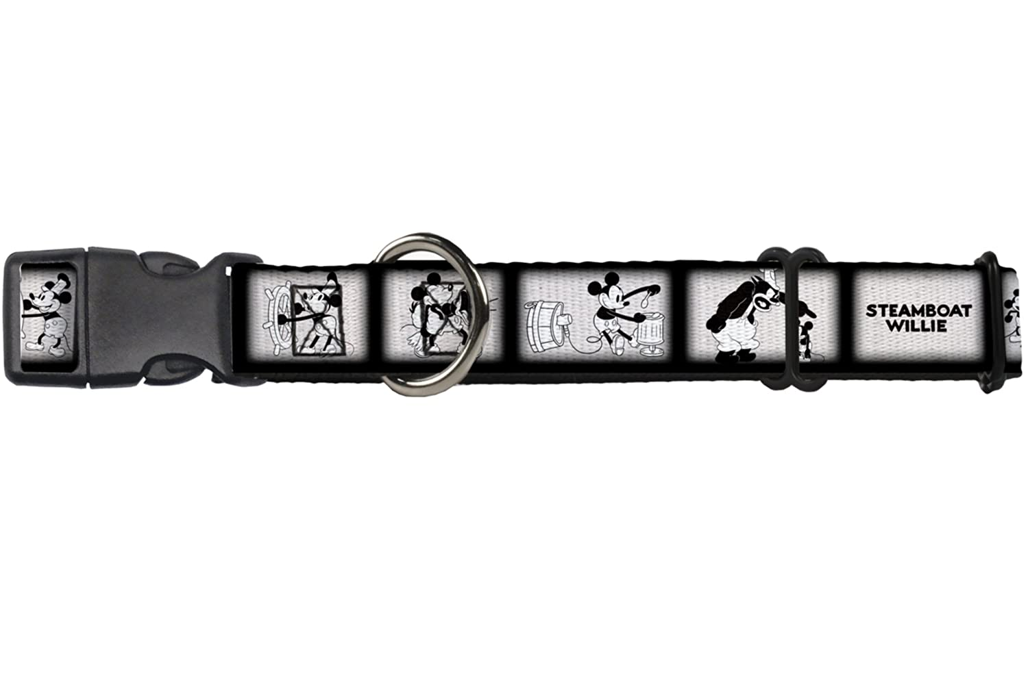 Buckle-Down Martingale Dog Collar Steamboat Willie Scene Blocks White Black 1  Wide Fits 11-17  Neck Size Medium