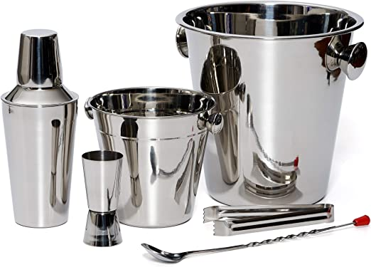 Bar Set By Bezrat – Stainless Steel Barware Accessories - Cocktail Kit for Parties & Fun – 6 Piece Bartender Set with Cocktail Shaker, Double Jigger, ...