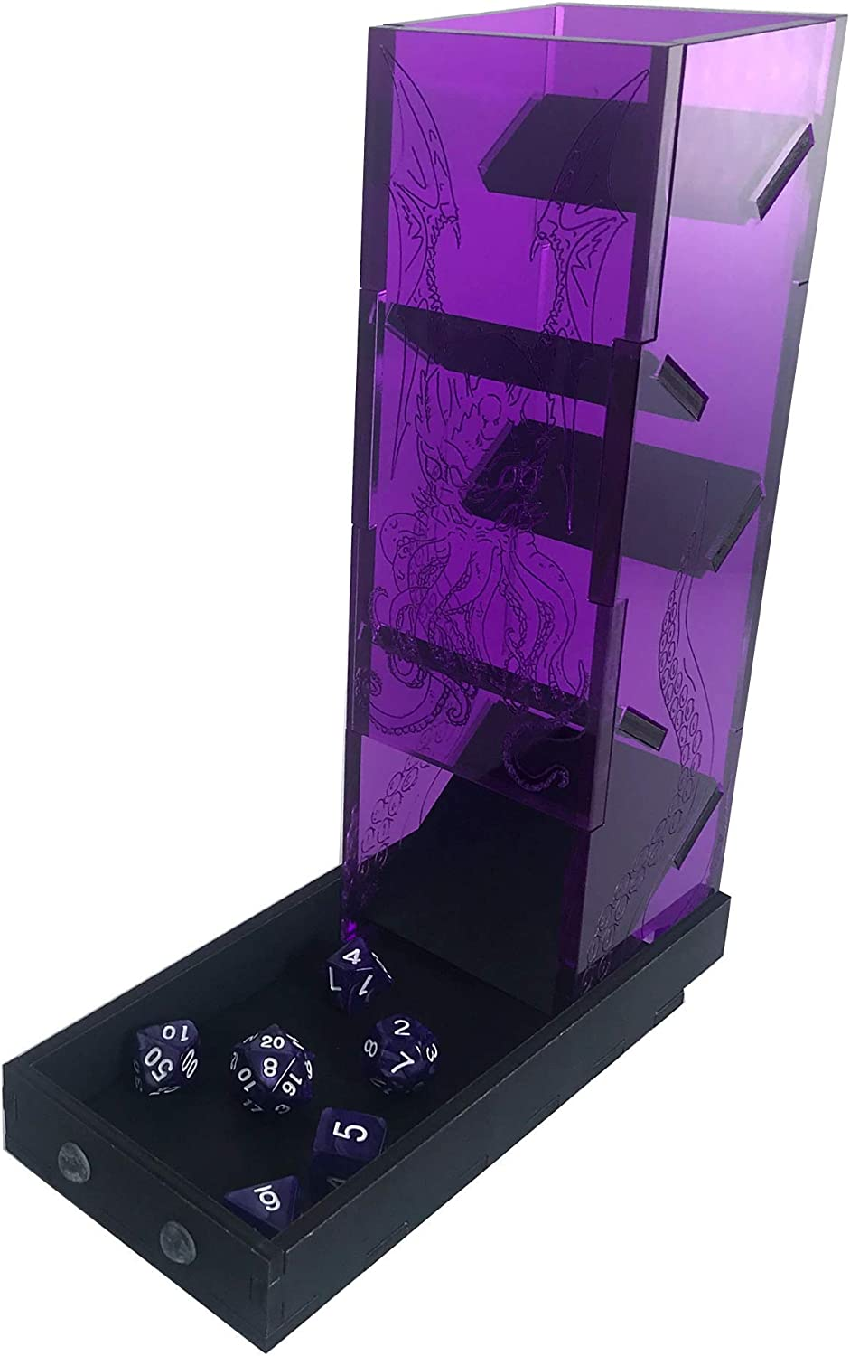 C4Labs Cthulhu Etched Dice Tower for Lovecraft Fans Purple Acrylic Purple Acrylic