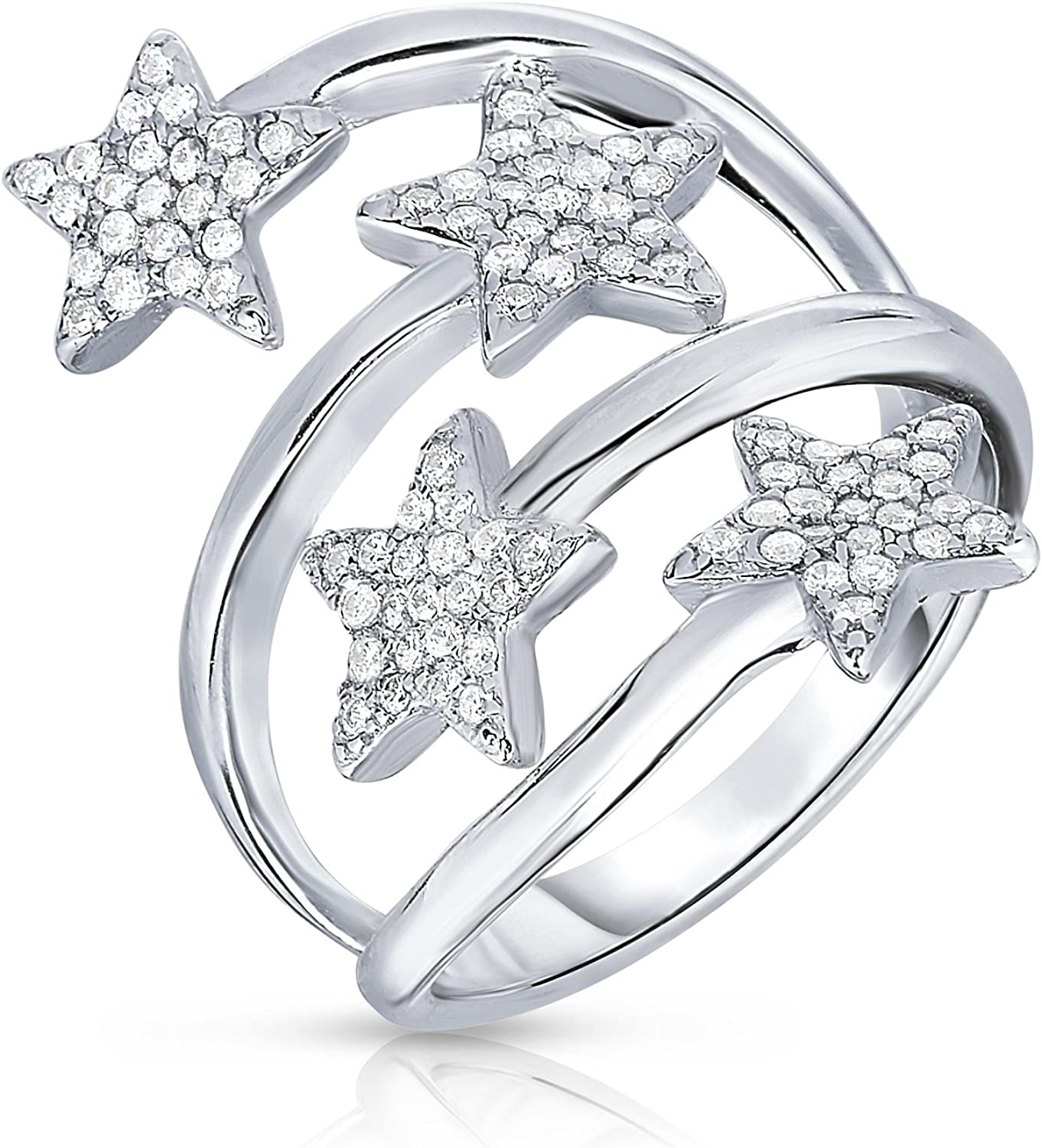 Tilo Jewelry Sterling Silver Star Ring with Cubic Zirconia