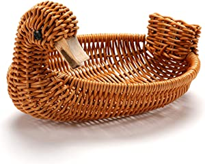 Long Woven Poly-Wicker Bread Basket - Handmade bread basket, Woven Tabletop Food Serving Basket, Serving Display Baskets for Fruits, Vegetables and Snacks, Restaurant, Hotel (Style 1)