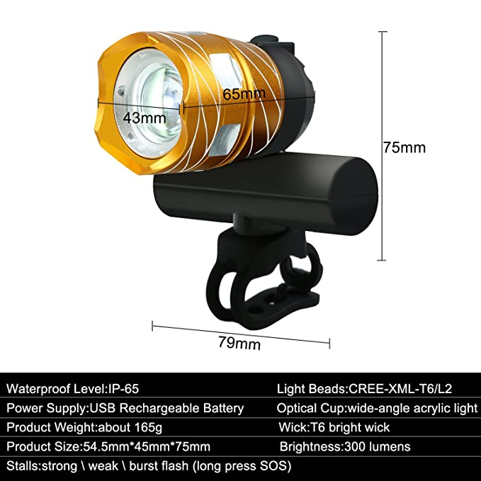 juego de luces LED para bicicleta, recargables por USB, resistentes al agua, fácil de instalar, 1200 lúmenes, 3 modos de luz, faro delantero y luz trasera, ...