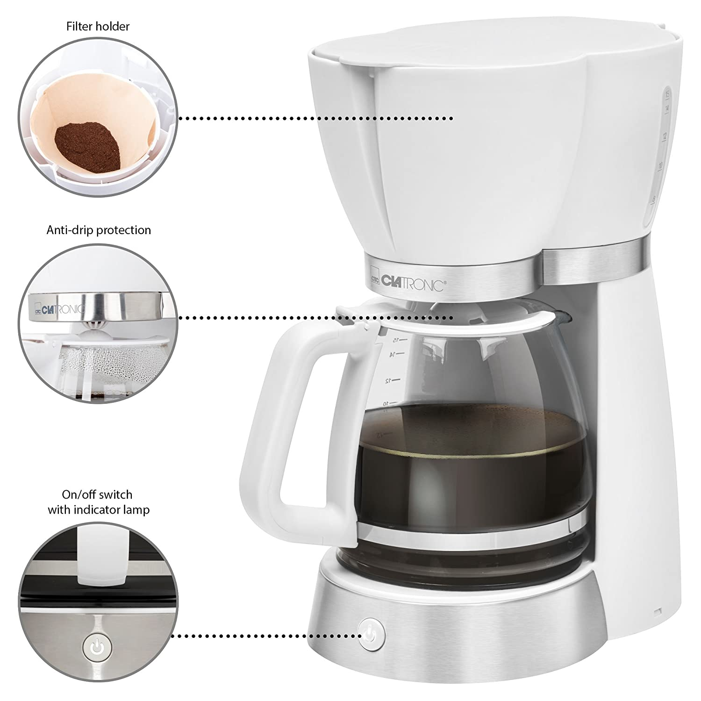 Set da colazione tostapane 2 fette stile Colour Up macchina da caff/è americano bianco 15/tazze bollitore dacqua elettrico da 1,7/litri