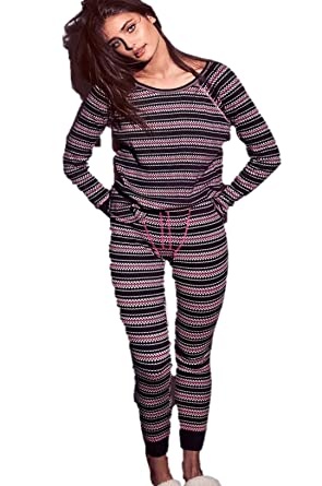Victorias Secret Fireside Long Jane Thermal Pajama Black PJs Set ...