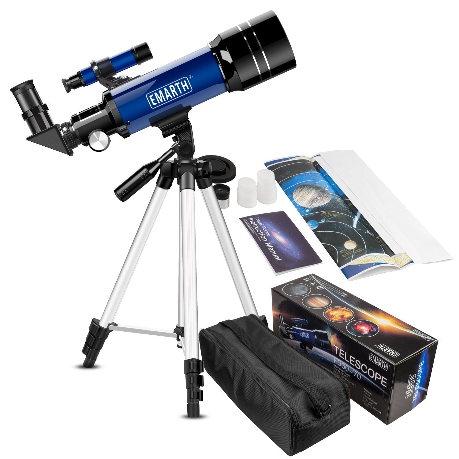 Emarth Telescopio da 70mm per bambini e principianti di astronomia, Travel Scope con treppiede e mirino regolabile e due oculari (K25mm e K10mm) - Perfetto per i bambini educativi e regali Unheard