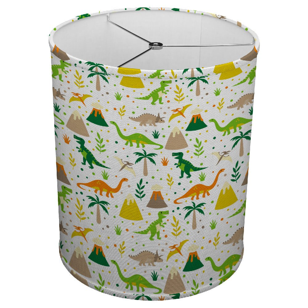 Hardback Linen Drum Cylinder Lamp Shade 8'' x 8'' x 8'' Spider Construction [ Happy Kids Dinosaur ]