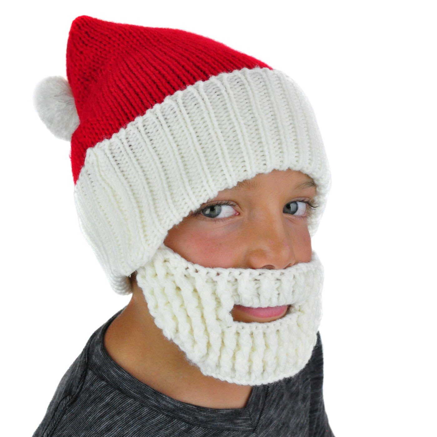 Santa Hat Beanie With Beard - Kids Boys Mens Fun Cute Ski Winter Knit Snowboard NeonEaters
