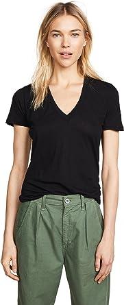Monrow Womens Slub Oversized V-Neck Shirt