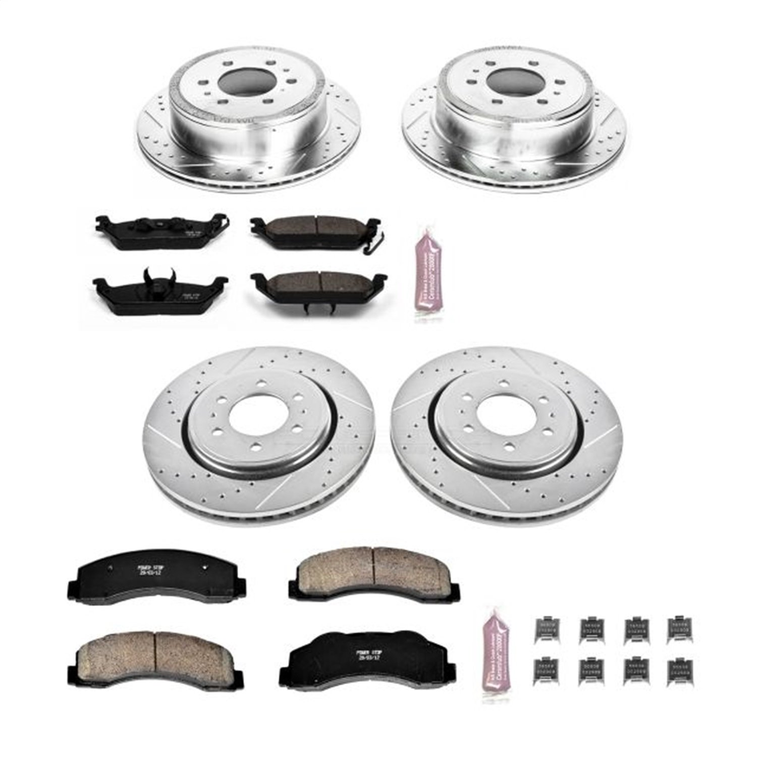 Power Stop K3166 Front and Rear Z23 Evolution Brake Kit with Drilled//Slotted Rotors and Ceramic Brake Pads