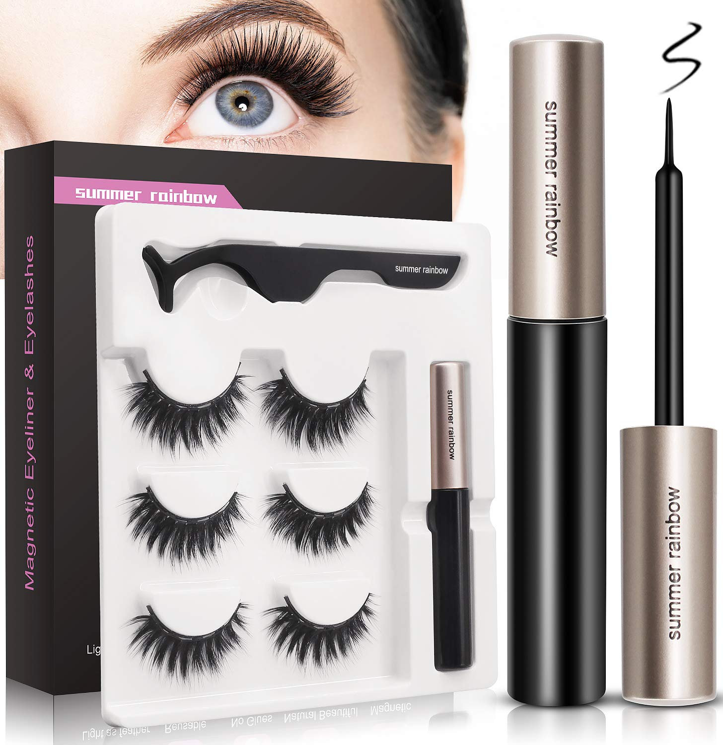 Magnetic Eyeliner and Magnetic Eyelash Kit, Natural Look, Waterproof and Smudge Resistant, Magnetic Lashliner for Use with Magnetic False Lashes (3 Pairs)