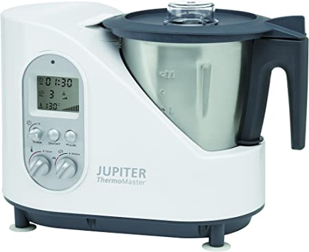 Jupiter Thermomaster - Robot de cocina (2 L, Negro, Acero inoxidable, Blanco, Botones, Giratorio, 8000 RPM, 1500 W, 230 V): Amazon.es: Hogar