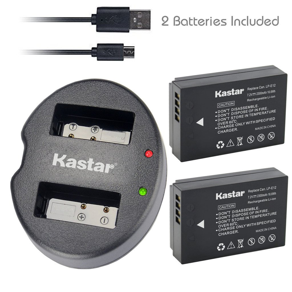 Kastar Battery (X2) & Dual USB Charger for Canon LP-E12 and Canon EOS 100D, EOS Rebel SL1, EOS M Camera System & Canon LPE12 Grip