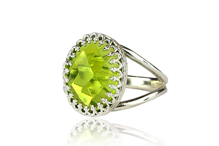 18c95d35a Remarkable Peridot Ring from Anemone Jewelry - 10x14mm Oval Peridot  Birthstone in Sterling Silver - Stunning August Birthstone Rings - Handmade  Peridot ...