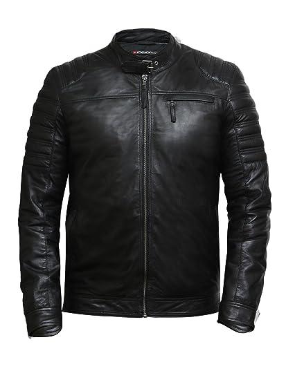 00014be31152 Brandslock Homme Cuir véritable Motard Veste Distressed  Amazon.fr   Vêtements et accessoires