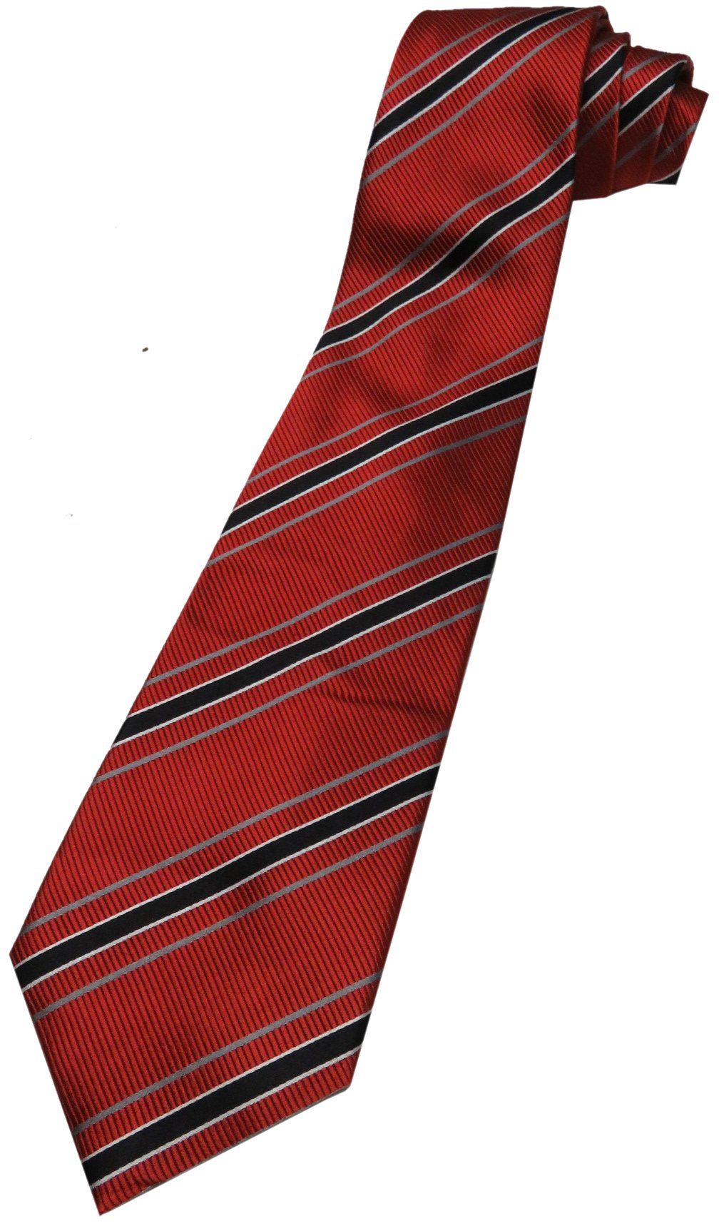 Donald Trump Neck Tie Red, Black and Silver Striped with Gold Crest