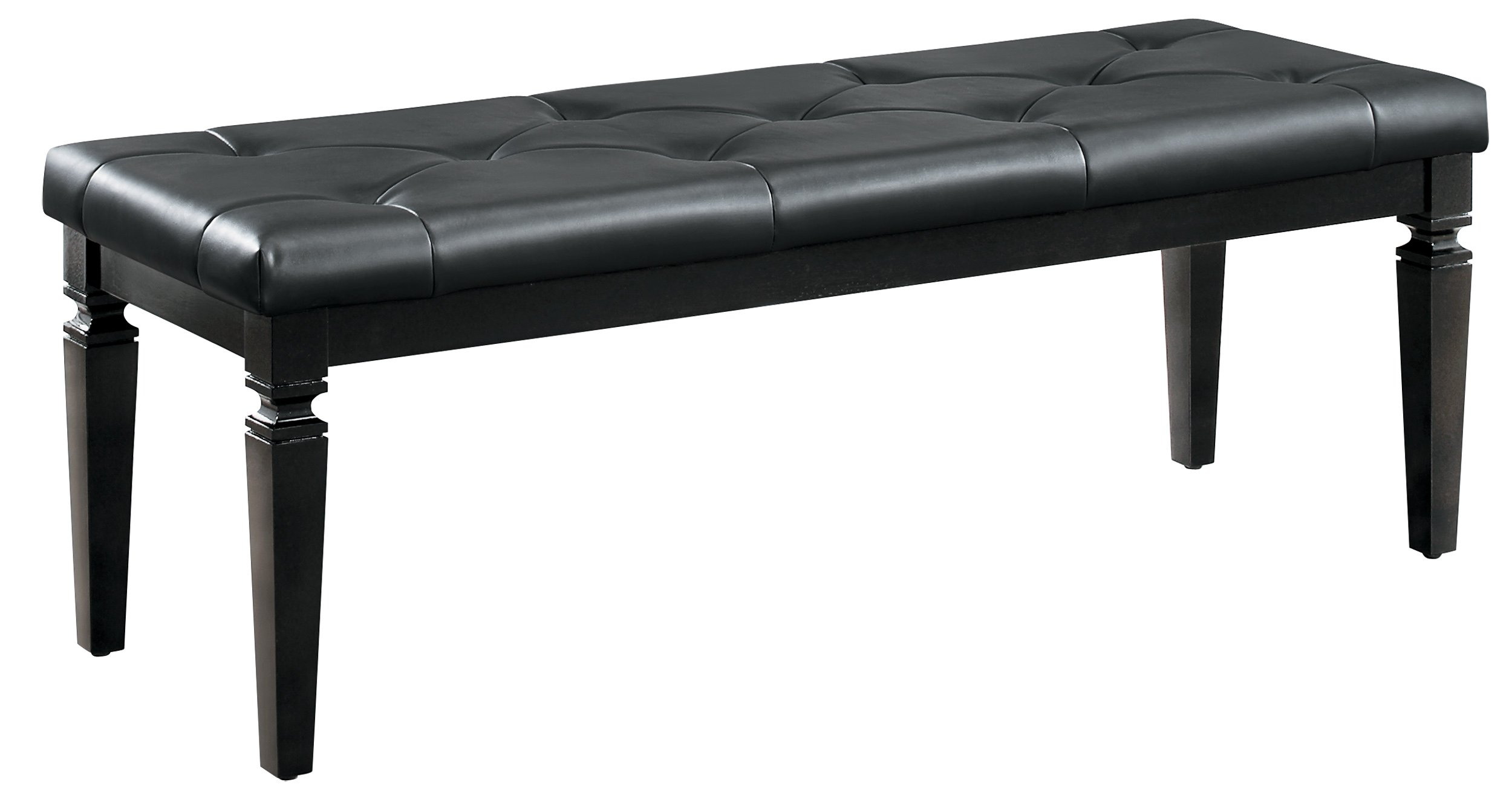 Homelegance Allura Modern Crystal Tufted Footboard Bench, Black Bi-Cast Vinyl