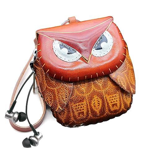 Amazon.com: Monedero de piel hecho a mano con diseño de búho ...