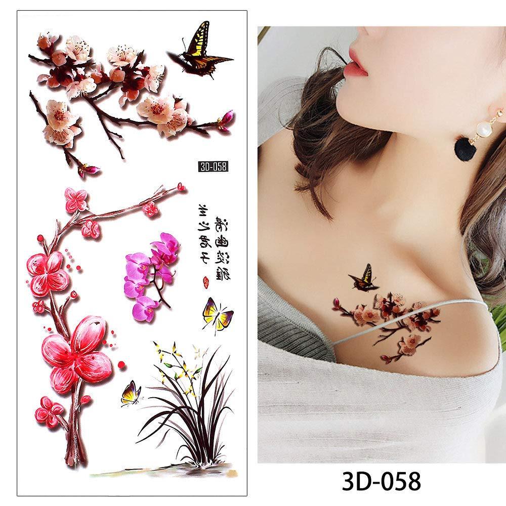 adgkitb Patrón de peonía de Tatuaje de Flor de 4 Piezas para ...