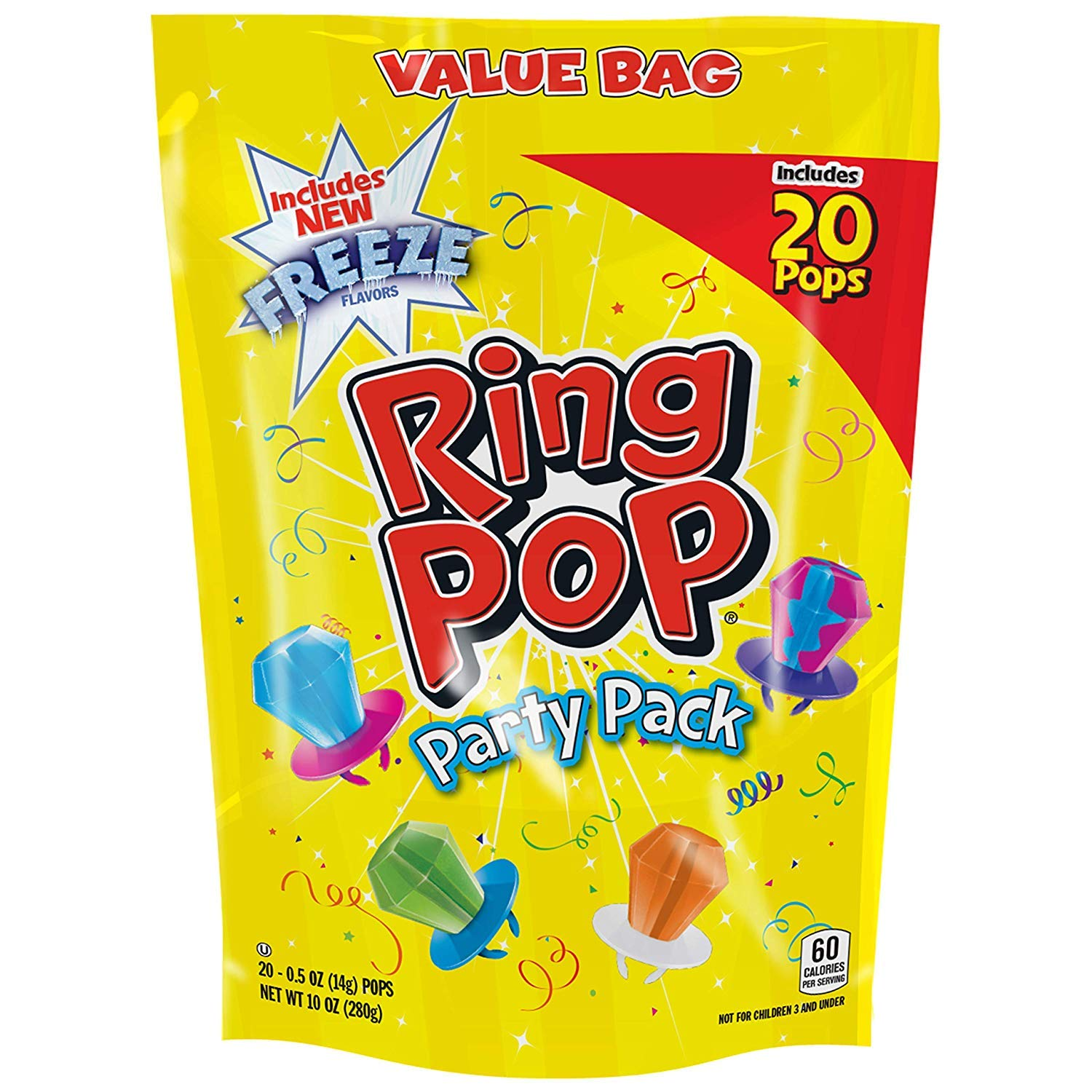Ring POP Individually Wrapped Variety Halloween Party Pack - Candy Lollipop Suckers W/ Assorted Flavors, 20 Count (Pack of 1) (3 pack) by Ring Pop