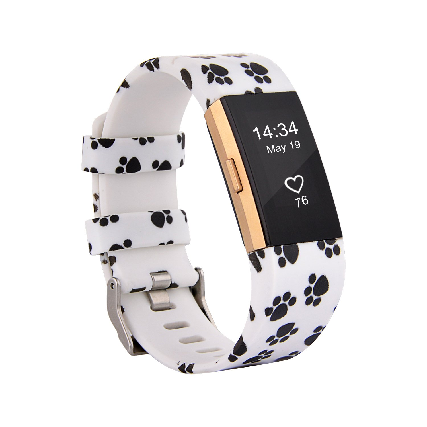 Fitbit Charge 2 Band,Soft Silicone Adjustable Replacement Sport Strap Printed Design Bands with Classic Buckle Fitness Accessory Wristband for Fitbit Charge2 (Pattern-13, Small (Wrist 5.5\