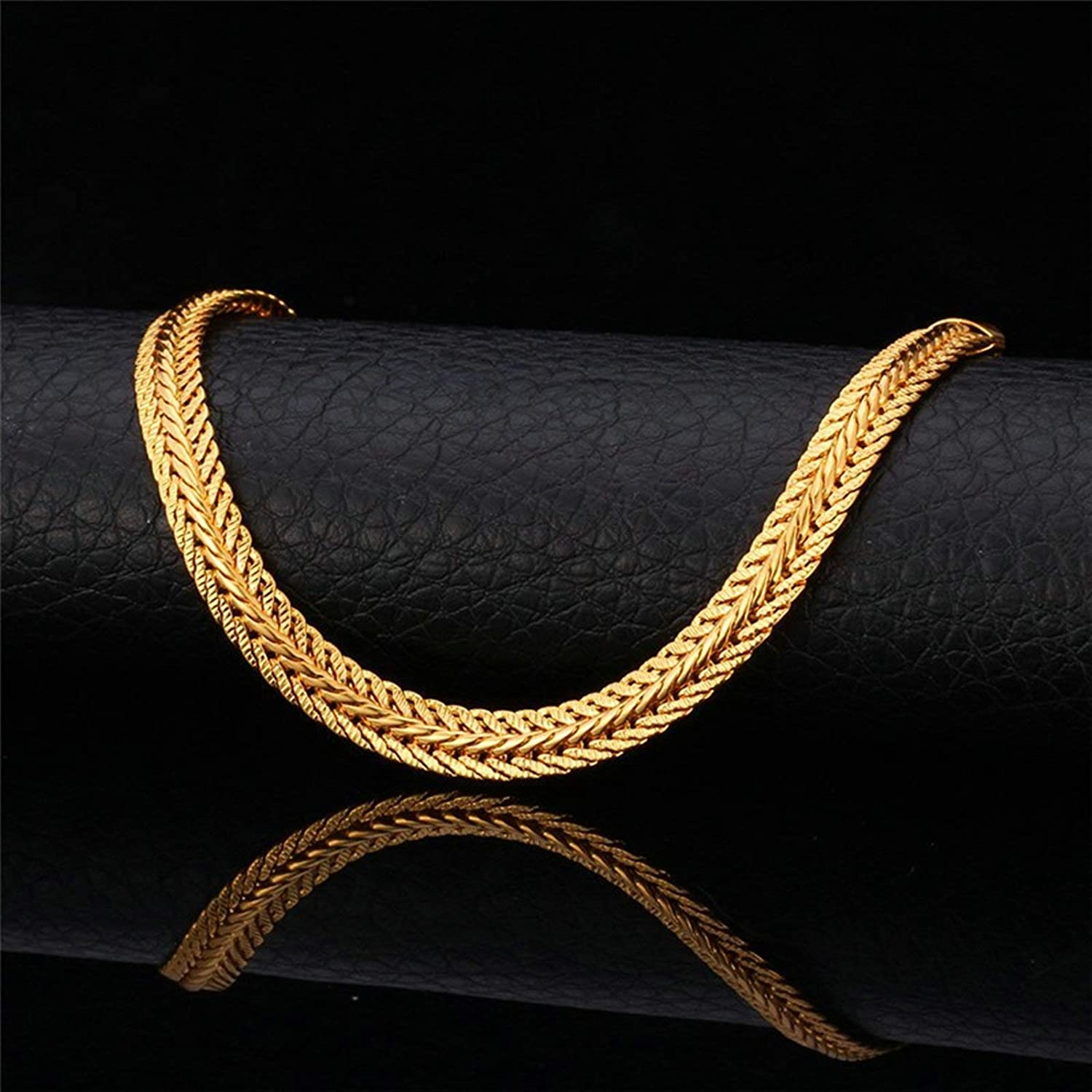 MoAndy Chain Necklaces Copper Lobster-Claw 6Mm Chain Link Necklace Punk 18-32 Inch Gold Silver Black Rose Gold