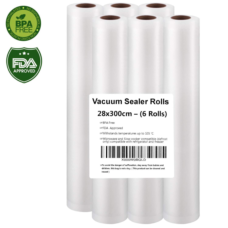 Rollo Envasado Vacío, 6 Rollos Bolsas de vacío 28x300cm de Grado Comercial para el Ahorrador de Alimentos y Sous Vide Cocina, Aprobación de la FDA y ...