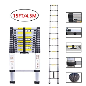 Telescopic Ladder Aluminum Extension Telescoping Ladder Foldable Extend and Climb Ladder EN131 Standard(4.5M/15Ft)