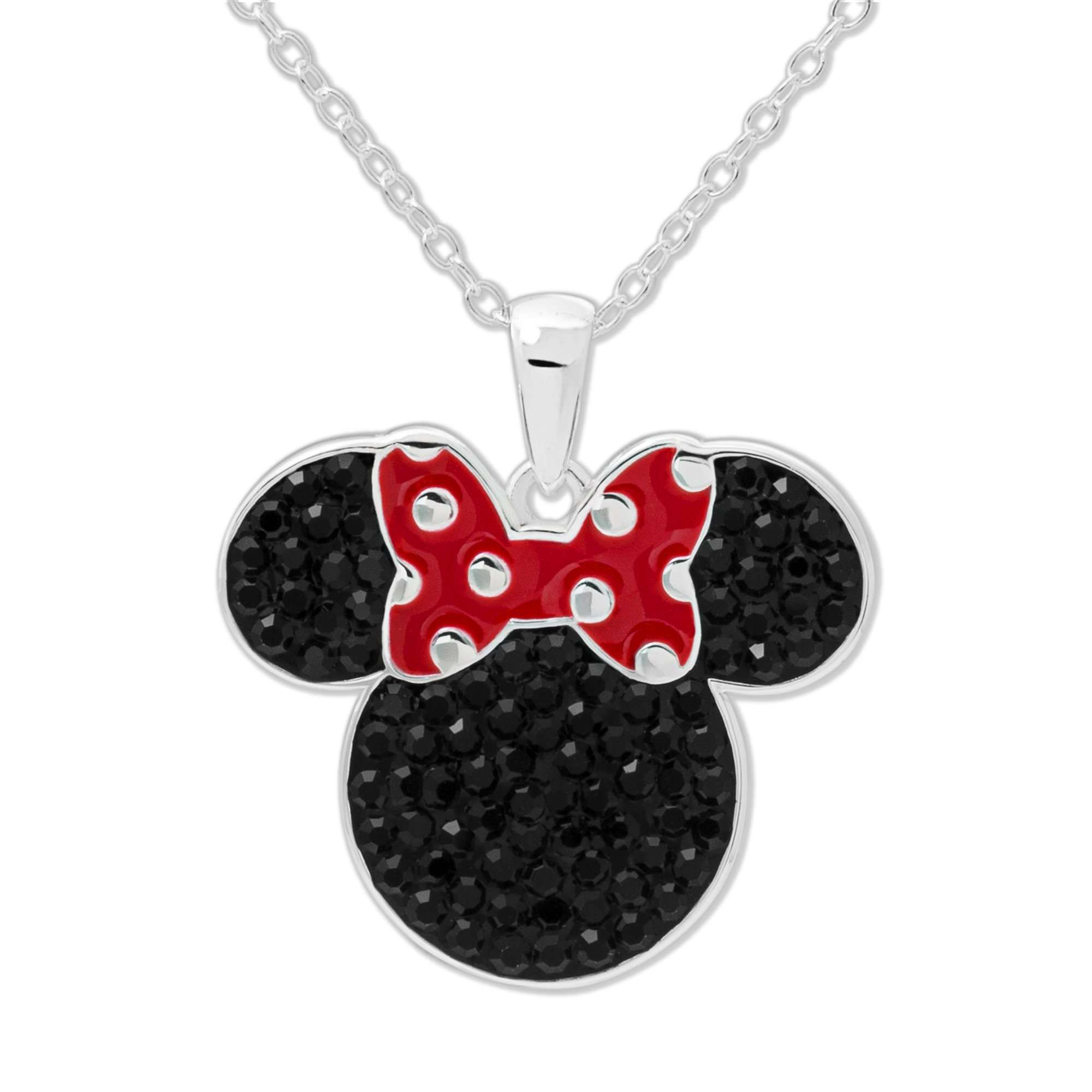 Disney Women's and Girls Jewelry Minnie Mouse Head Silver Plated Black Crystal Pendant, 18'' Mickey's 90th Birthday Anniversary