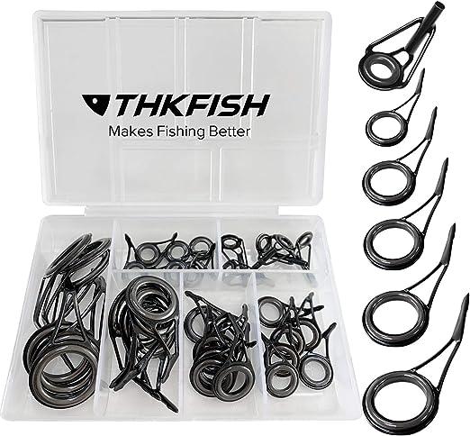 80Pcs 10 Sizes Steel Fishing Rod Pole Guide Tip Top Ring Eye Repair Kit Blacha